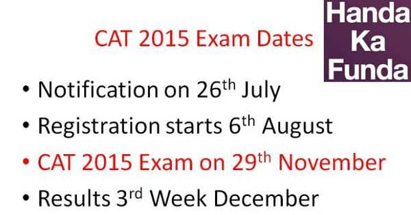 CAT 2015 Exam Notification and Important Dates