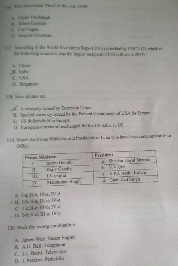 IIFT 2015 General Knowledge Section Question Paper 5